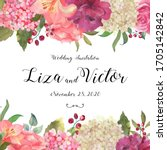 banner  card with a blooming... | Shutterstock . vector #1705142842