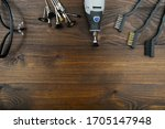Electric Rotary Tools On Brown...