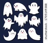 cute cartoon ghosts set on... | Shutterstock .eps vector #1705149388