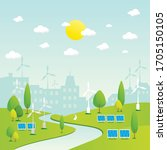 eco friendly city district  ... | Shutterstock .eps vector #1705150105