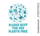 zero waste and plastic free... | Shutterstock .eps vector #1705172512