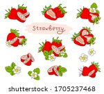 fresh strawberries isolated on... | Shutterstock .eps vector #1705237468