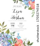wedding floral background with... | Shutterstock . vector #1705274518
