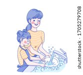 mother and daughter are washing ... | Shutterstock .eps vector #1705279708