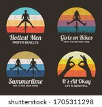 people on bikes. set of retro... | Shutterstock .eps vector #1705311298