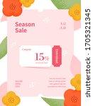 spring season sale. coupon web... | Shutterstock .eps vector #1705321345