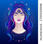 poster with meditative woman... | Shutterstock .eps vector #1705333048