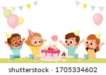 happy children with cake and... | Shutterstock .eps vector #1705334602