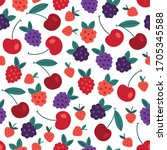 seamless pattern with cherry ...   Shutterstock .eps vector #1705345588