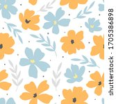 decorative hand drawn floral... | Shutterstock .eps vector #1705386898