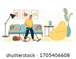 man washing the house with... | Shutterstock .eps vector #1705406608