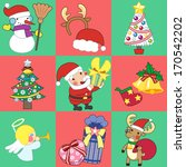 a variety of christmas stickers | Shutterstock . vector #170542202