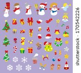 a variety of christmas stickers | Shutterstock . vector #170542226