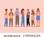 girls and boys cartoons with... | Shutterstock .eps vector #1705441255