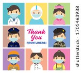 thank you frontliners who work... | Shutterstock . vector #1705463938