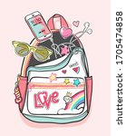 colorful cartoon backpack with... | Shutterstock .eps vector #1705474858