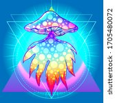 magic mushrooms over sacred... | Shutterstock .eps vector #1705480072