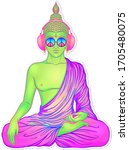 peace and love. colorful buddha ... | Shutterstock .eps vector #1705480075