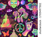 psychedelic seamless pattern ... | Shutterstock . vector #1705497502