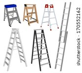 set of various ladders on the... | Shutterstock .eps vector #170552162