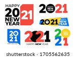 set of 2021 text logo design.... | Shutterstock .eps vector #1705562635