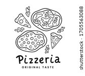 pizza doodle  linear vector... | Shutterstock .eps vector #1705563088