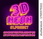 3d neon alphabet font. glowing... | Shutterstock .eps vector #1705575322
