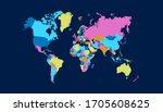 world map color vector modern | Shutterstock .eps vector #1705608625