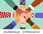 hands of diverse group of... | Shutterstock .eps vector #1705616212