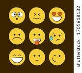 set of smile icons. emoji.... | Shutterstock .eps vector #1705618132