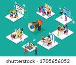 team of people is working on... | Shutterstock .eps vector #1705656052