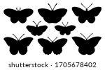 butterflies silhouettes set ... | Shutterstock .eps vector #1705678402