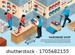 isometric hardware tools shop... | Shutterstock .eps vector #1705682155