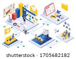 remote workforce management... | Shutterstock .eps vector #1705682182