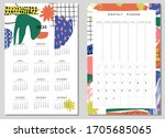 calendar 2020 and weekly... | Shutterstock .eps vector #1705685065
