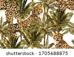 vintage tropical palm trees ... | Shutterstock .eps vector #1705688875