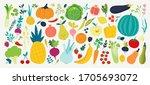 hand drawn vegetables. veggies... | Shutterstock .eps vector #1705693072