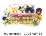 Three Kitten On The Basket With ...
