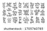 set of 25 hand lettering... | Shutterstock .eps vector #1705760785