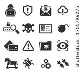 cybercrime icons set. cyber... | Shutterstock .eps vector #1705796275