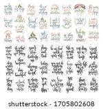 set of 50 hand lettering... | Shutterstock .eps vector #1705802608