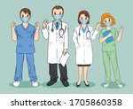 team of doctors and nurses... | Shutterstock .eps vector #1705860358