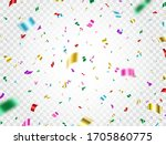 colorful confetti falling on... | Shutterstock .eps vector #1705860775