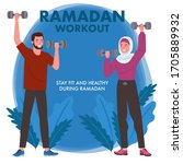 a muslim man and woman wearing... | Shutterstock .eps vector #1705889932