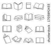 Book Icons Set In Thin Line...