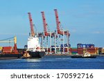 tugboat assisting container... | Shutterstock . vector #170592716