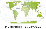worldmap with main cities in... | Shutterstock . vector #170597126