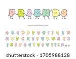 cartoon emoticons font. funny... | Shutterstock .eps vector #1705988128