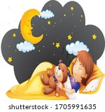 sleeping boy in night with his... | Shutterstock .eps vector #1705991635