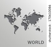 vector paper world map on a... | Shutterstock .eps vector #170610086